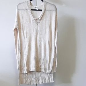 BOGO Free Long v-neck cream sweater with side slit